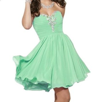 Fashion Plaza Sweetheart Strapless A-line Short Chiffon Homecoming Dress D0363 (US2, Black)