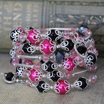 Beaded Memory Wire spiral Wrap Bracelet - MYSTIQUE - Pearl and Sparkling Crystals - Silver hot pink black - wrapped bracelet