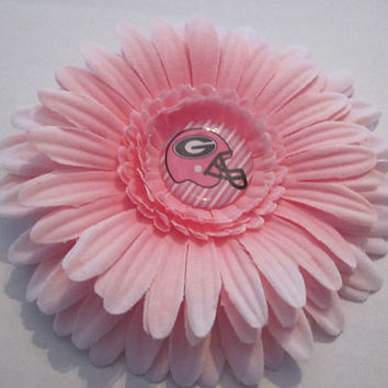 Georgia Bulldog Light Pink Flower Hair Clip, Hairbows, Bows, Hair Clips, Football Bows, By Sweetpeas Bows & More