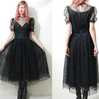 BLACK LACE 80s Vintage DRESS Goth Gothic Witch Sheer Mesh Tulle French-Lace Highwaisted Puff sleeve vtg 1980s xs s