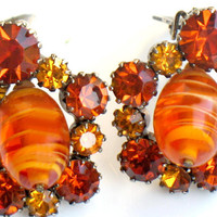 Orange Art Glass Earrings Vintage 1960s Jewelry Art Glass And Rhinestone Clip On Earrings Yellow Orange High Fashion Rare Summer Spring