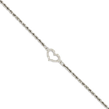 14k White Gold Open Heart Station Anklet Ankle Bracelet