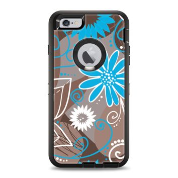 The Brown Surface with Blue and White Whymsical Floral Pattern Apple iPhone 6 Plus Otterbox Defender Case Skin