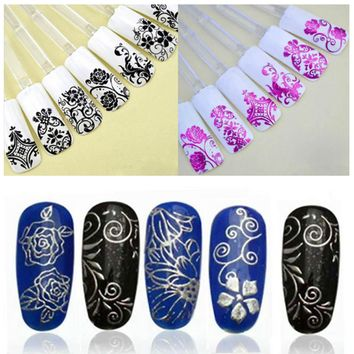 108PCS Sliders for Nails Stickers 3D Stickers for Nails Foil Flower Nail Design Manicure Gold Foil Strips Stickers ZJ1106