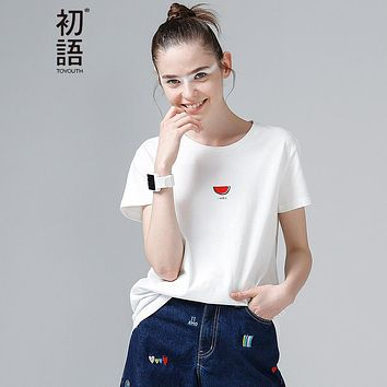 Toyouth Women Cotton T-Shirts Fashion Watermelon Print Summer T Shirt All Match O-Neck Short Sleeve Casual T-Shirts Base Tees