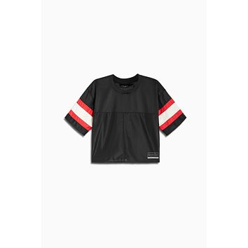 crop mesh football jersey / black + red + ivory