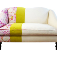 "Kim Salmela, Chloe 61"" Settee, Yellow Stripe, Settees"