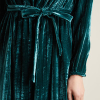 Without Further Salut Velvet Long Sleeve Dress