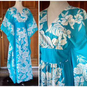 Vintage Hawaiian Caftan Turquoise Kaftan Border Print Angel Sleeve Long Dress Empire Geisha Girl Free Size S M L XL Plus Size