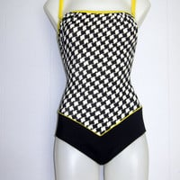 Womens Vintage 90s One-Piece Bathing Swim Suit Strapless Strap Houndstooth Swimwear S M