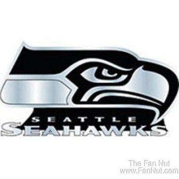 Seattle Seahawks 3D Raised Silver Chrome Colored Auto Emblem Decal Football