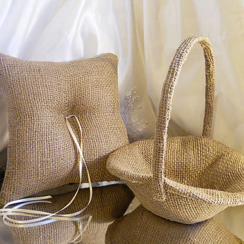 Burlap Bridal Flower Girl Basket and Ring Bearer Pillow Set made of natural burlap and non-embellished.