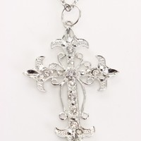 Silver Carved High Polished Metal Rhinestone Cross Necklace