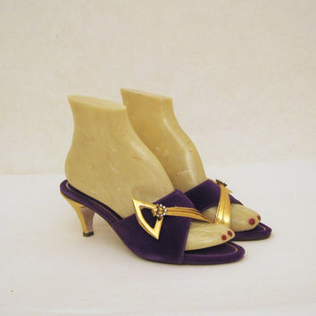 Boudoir Slippers Vintage 60s Purple and Gold by voguevintage
