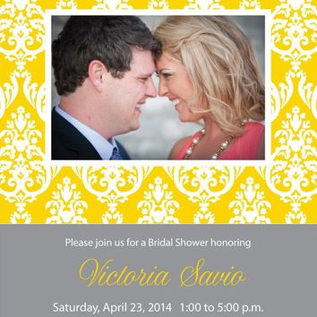 Brocade Photo Bridal Shower Invitations