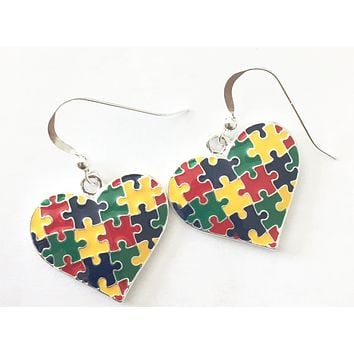 Autism Heart Charm Fish Hook Earrings