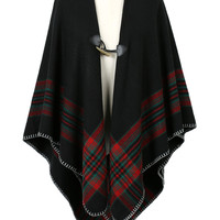 Black Contrast Plaid Single Button Cape