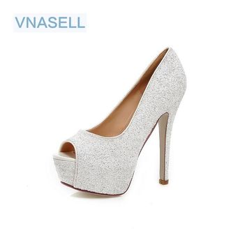 Vnasell 2017 Woman 13.5cm High Heels Women Pumps Stiletto Thin Heel Women's Shoes Open Toe High Heels Shoes Size 32-41 42 43