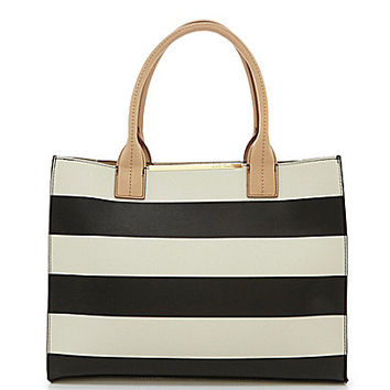 Kate Landry Cabana Striped Tote - Black