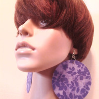 Light and Dark Purple Leaf Print Womens Fabric Earrings, Women Earrings, Fashion Earrings, Fabric Earring, Large Earrings