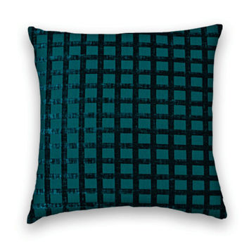 Chenille Decorative Pillow Cover - 20 x 20 Geometric Block DesignThrow Pillow--Teal
