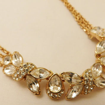 Vintage Monet Rhinestone Necklace and Bracelet Jewelry Set