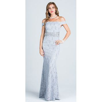 Silver Embellished Off Shoulder Prom Gown Fit and Flare