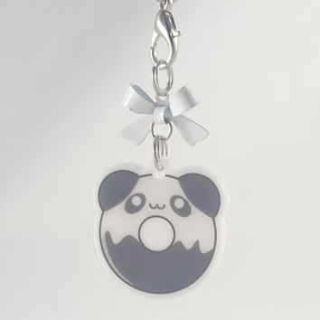 Panda, asian, donut, food, dessert, phone charm, cute, kawaii, anime, zipper charm, keychain, acrylic charm, black