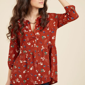 00ccaf0c523 Creative Career Conference Button-Up Top in Ginger Garden