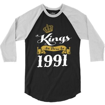 kings are born in 1991 3/4 Sleeve Shirt