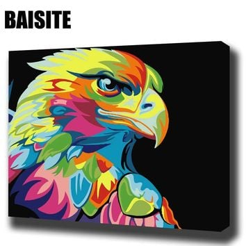 BAISITE DIY Framed Oil Painting By Numbers Animal Pictures Canvas Painting For Living Room Wall Art Home Decor E566