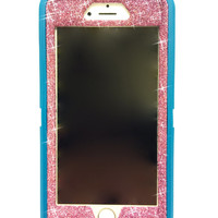 iPhone 6 (4.7 inch) OtterBox Defender Series Case Glitter Cute Sparkly Bling Defender Series Custom Case  teal / pink