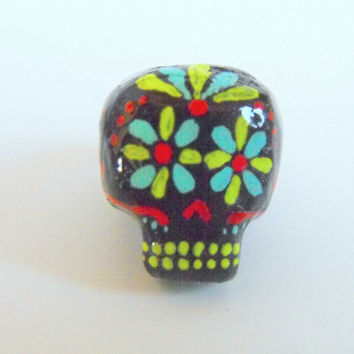 Dreadlock Bead 6mm Dread Beads Sugarskull Sugar Skulls One of A Kind Hand Cast Hand Painted Resin Bead for Dreads