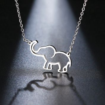 Lucky Elephant 316 Stainless Steel Trunk Up Pendant Necklace