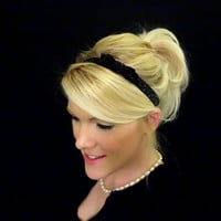 Glitter black small bow stretch headband feminine/romantic/classic