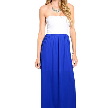 Strapless Color Blocked Maxi Dress