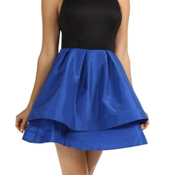 Teeze Me | Sleeveless Tank Top Two-Tiered Pleated Color Block Party Dress  | Black/Cobalt