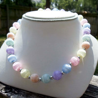 Vintage fabric beaded pastel necklace