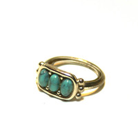 Vintage Faux Turquoise and Silver Tone Ring Avon