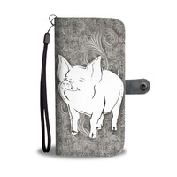 Cute Middle White Pig Print Wallet Case-Free Shipping