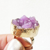Amethyst Purple Gold Druzy Ring, Amethyst Druzy Drusy Crystal Quartz Adjustable  Gold Dipped Rings, Bohemian Gypsy Chic