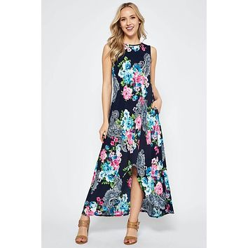 High Low Floral Maxi Dress - Tropical Floral