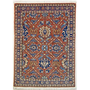 Oriental Veramin Persian Wool Tribal Rug, Orange/Dark Blue