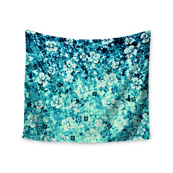 "Ebi Emporium ""Flower Power in Blue"" Teal Aqua Wall Tapestry"