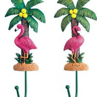 Tropical Beach Pink Flamingo Palm Tree Wall Hook Set