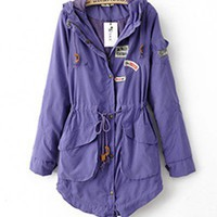 Hooded Purple long sleeve lapel trench   style zz10090704 in