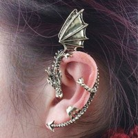 Vintage Punk Gothic Rock Dragon Pattern Ear Cuff Clip Stud Earring (Antique Silver)