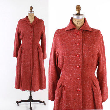 Vintage 40s COAT / 1940s Rusty Pink & Black Fleck Fit and Flare Princess Coat S