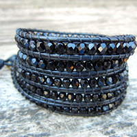 Beaded Leather Wrap Bracelet 4 or 5 Wrap with Jet Black Czech Glass Beads on Black Leather READY TO SHIP