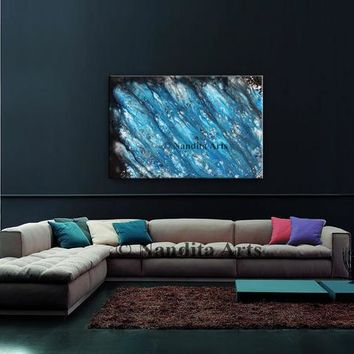 "Blue Acrylic Painting on Canvas, 36"" Original Large Wall Art Abstract Painting, Contemporary Art Modern Painting Home Decor Gift by Nandita"